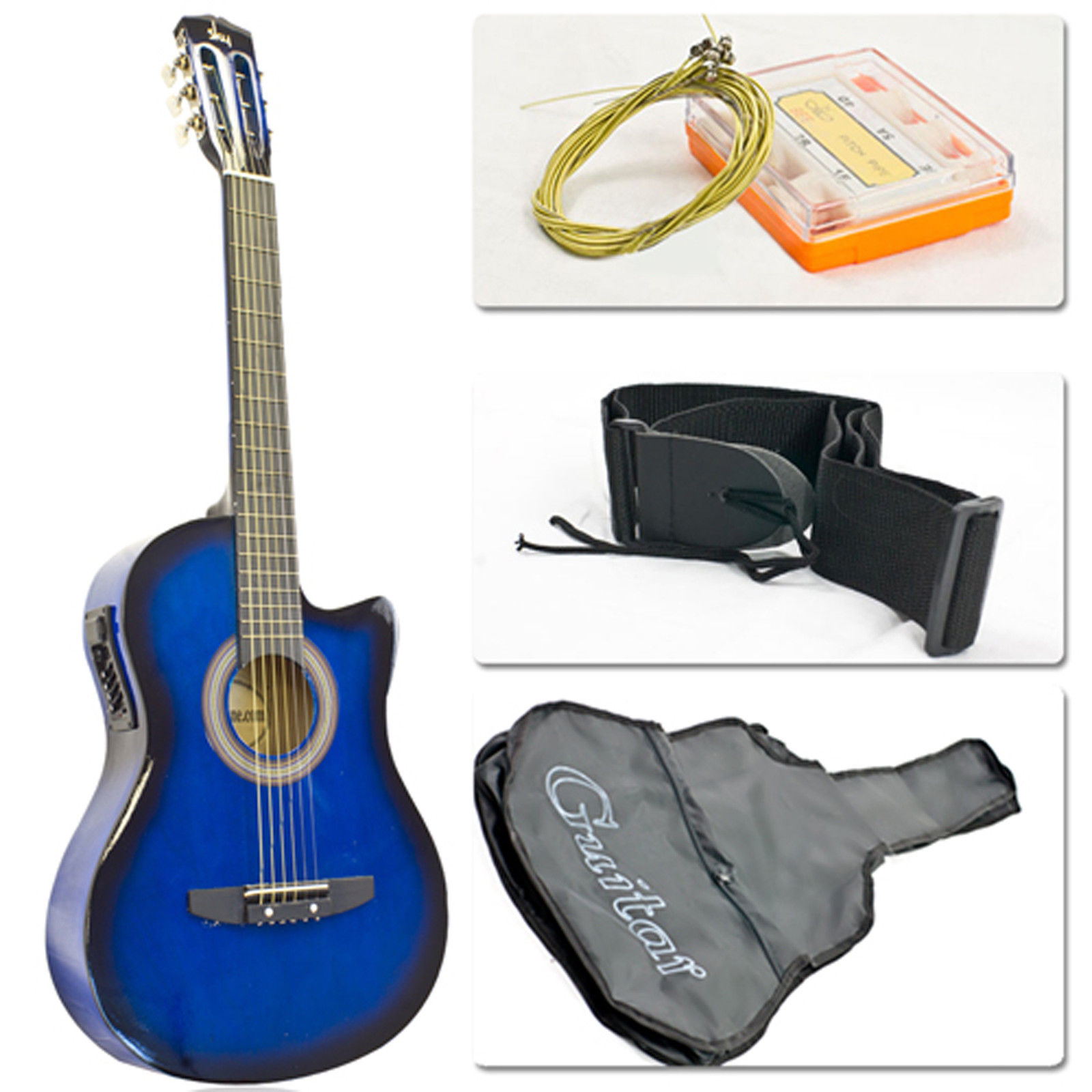 Electric Acoustic Guitar Cutaway Design With Guitar Case, Strap, Tuner Blue ALL Included - on sale in Trinidad