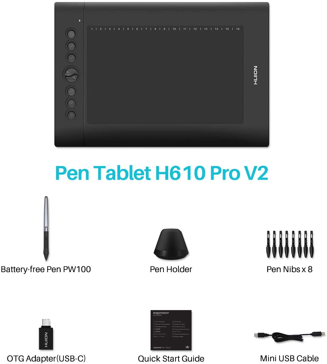 HUION H610 Pro V2 Graphic Drawing Tablet Chromebook and Android Supported Pen Tablet Tilt Function Battery-Free Stylus 8192 Pen Pressure with 8 Express Keys For Sale in Trinidad