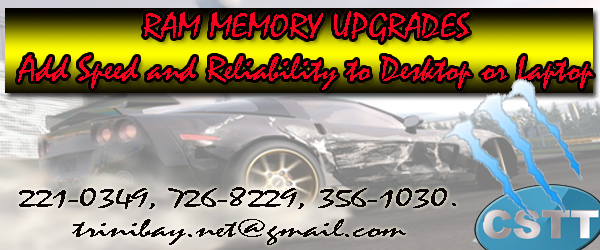 Gave your computer renew life and speed by simply upgrading your RAM memory - For free upgrade with most ram purchases - Call us at 726-8229